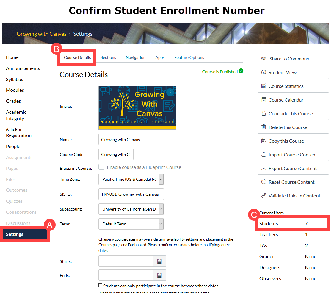 Confirm student enrollment numbers in the Settings page.