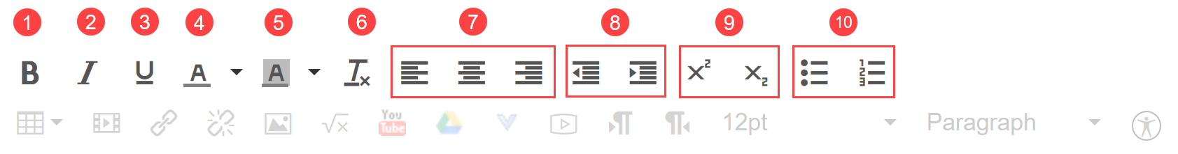 Rich content editor toolbar's 1st row of options